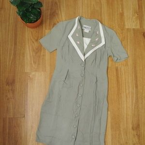 Vintage Button-Up Day Dress with Floral Embroidery